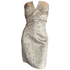 D&G Dolce & Gabbana Vintage Gold Floral Brocade Strapless Mini Dress