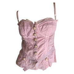 D&G Dolce & Gabbana Vintage Pink Corset with Large Buttons