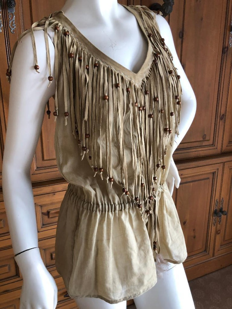 D&G Dolce & Gabbana Vintage Suede Fringed Low Cut Festival Top In Excellent Condition For Sale In San Francisco, CA
