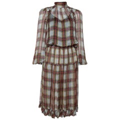 D&G Grey Plaid Print Silk Ruffled Midi Dress M