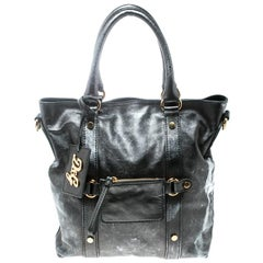 D&G Metallic Grey Leather Golden Box Messenger Bag