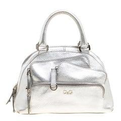 D&G Metallic Silver Leather Mindy Satchel