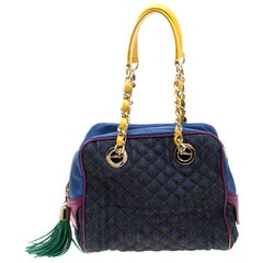 D&G Multicolor Fabric and Leather Lily Glam Bowler Bag