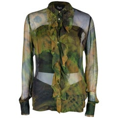 D&G Multicolor Printed Sheer Silk Chiffon Ruffle Front Shirt M