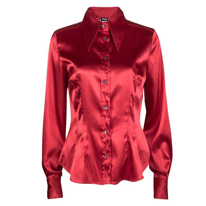 D&G Red Button Front Long Sleeve Shirt M