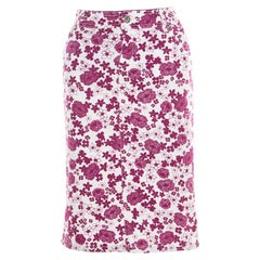 D&G White and Pink Floral Printed Stretch Cotton Skirt M