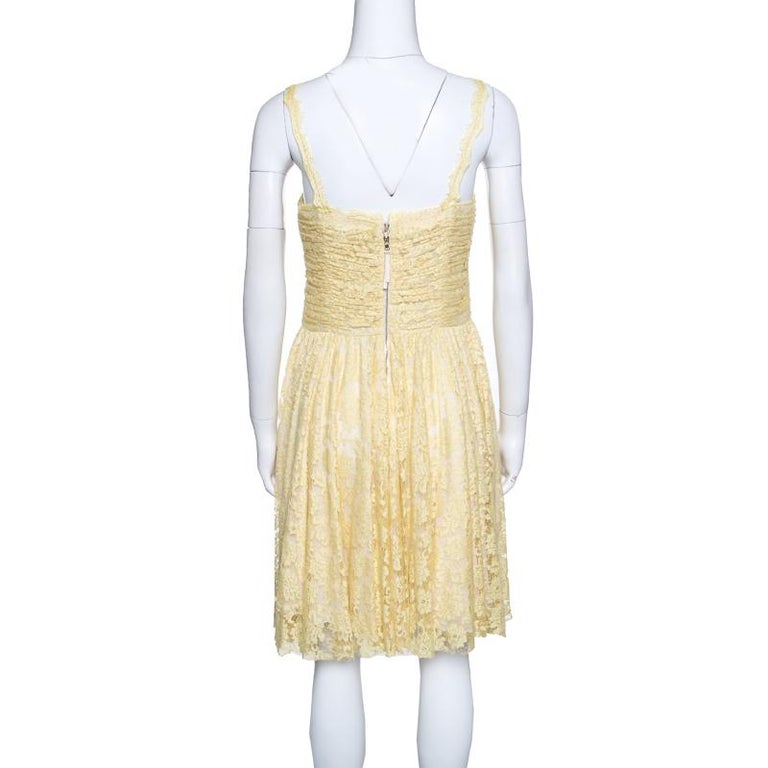 Beige D&G Yellow Floral Lace Ruched Sleeveless Dress M For Sale