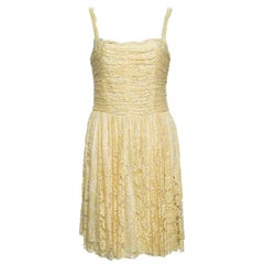 D&G Yellow Floral Lace Ruched Sleeveless Dress M