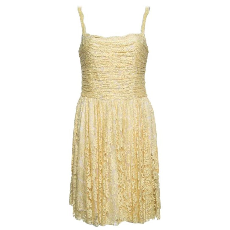 D&G Yellow Floral Lace Ruched Sleeveless Dress M For Sale