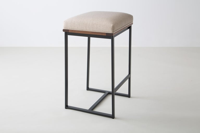 Modern DGD Backless Counter Stool, Powder Coated Steel, Oak, Wool, Handmade in USA For Sale