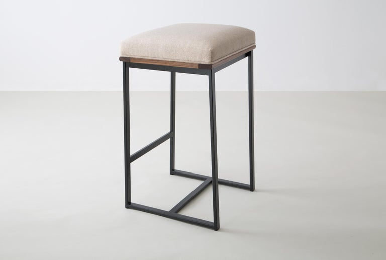 American DGD Backless Counter Stool, Powder Coated Steel, Oak, Wool, Handmade in USA For Sale