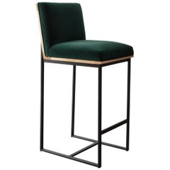 DGD Bar Stool, Maple with Mohair, Boucle, Leather, or COM COL, Made in USA