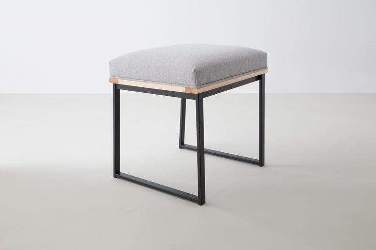 Modern DGD Dining Stool, Powder Coated Steel, Maple, Wool Upholstery, Handmade in USA For Sale