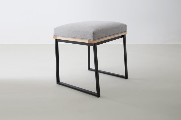 American DGD Dining Stool, Powder Coated Steel, Maple, Wool Upholstery, Handmade in USA For Sale