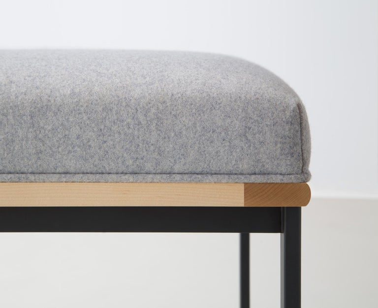 Hand-Crafted DGD Dining Stool, Powder Coated Steel, Maple, Wool Upholstery, Handmade in USA For Sale