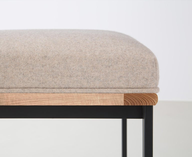 DGD Dining Stool, Powder Coated Steel, Maple, Wool Upholstery, Handmade in USA In New Condition For Sale In Brooklyn, NY