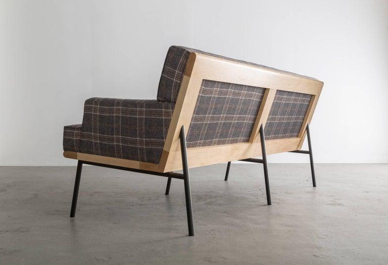 Modern DGD Sofa, Plaid Wool, Black / Grey Powder Coated Steel, Maple Harwood For Sale