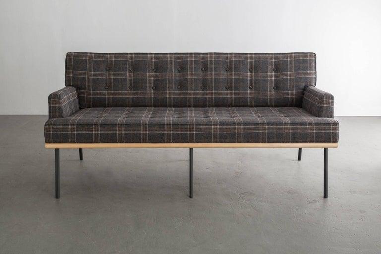 American DGD Sofa, Plaid Wool, Black / Grey Powder Coated Steel, Maple Harwood For Sale