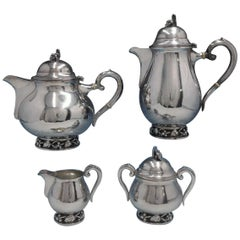DGH Goldsmith Danish Sterling Silver Tea Set of 4 Pieces Handwrought Grape Motif