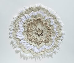 Cultiveren II - Abstract floral circle composition beige white nature inspired