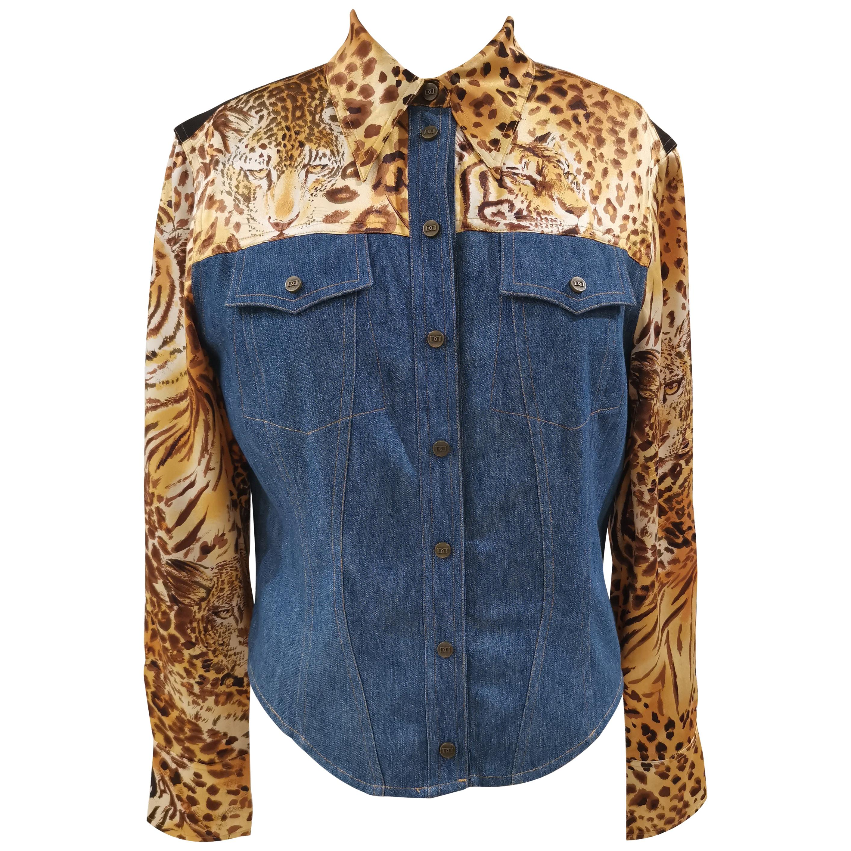 Di Bari denim leopard shirt