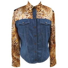Di Bari denim leopard shirt