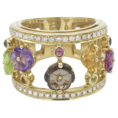 Di Modolo 18 Karat Gold Amethyst, Citrine, Peridot and Diamond Tempia Ring