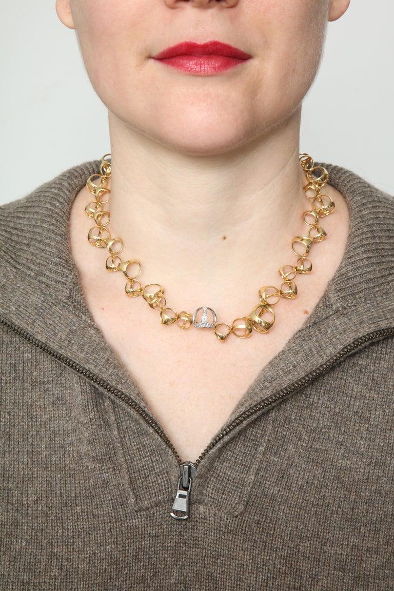 Di Modolo 1990s Triada Clasp Diamond and White and Gold Open Link Necklace For Sale 7