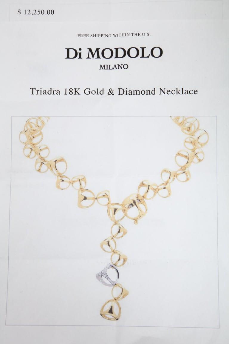 Di Modolo 1990s Triada Clasp Diamond and White and Gold Open Link Necklace For Sale 2