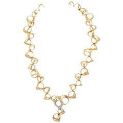 Di Modolo 1990s Triada Clasp Diamond and White and Gold Open Link Necklace