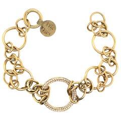 Di Modolo Diamond Link Bracelet 18 Karat Yellow Gold Italy