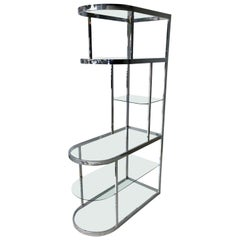 DIA 6 Glass Shelf Chromed Metal Frame with Brass Supports Curved Front Étagère