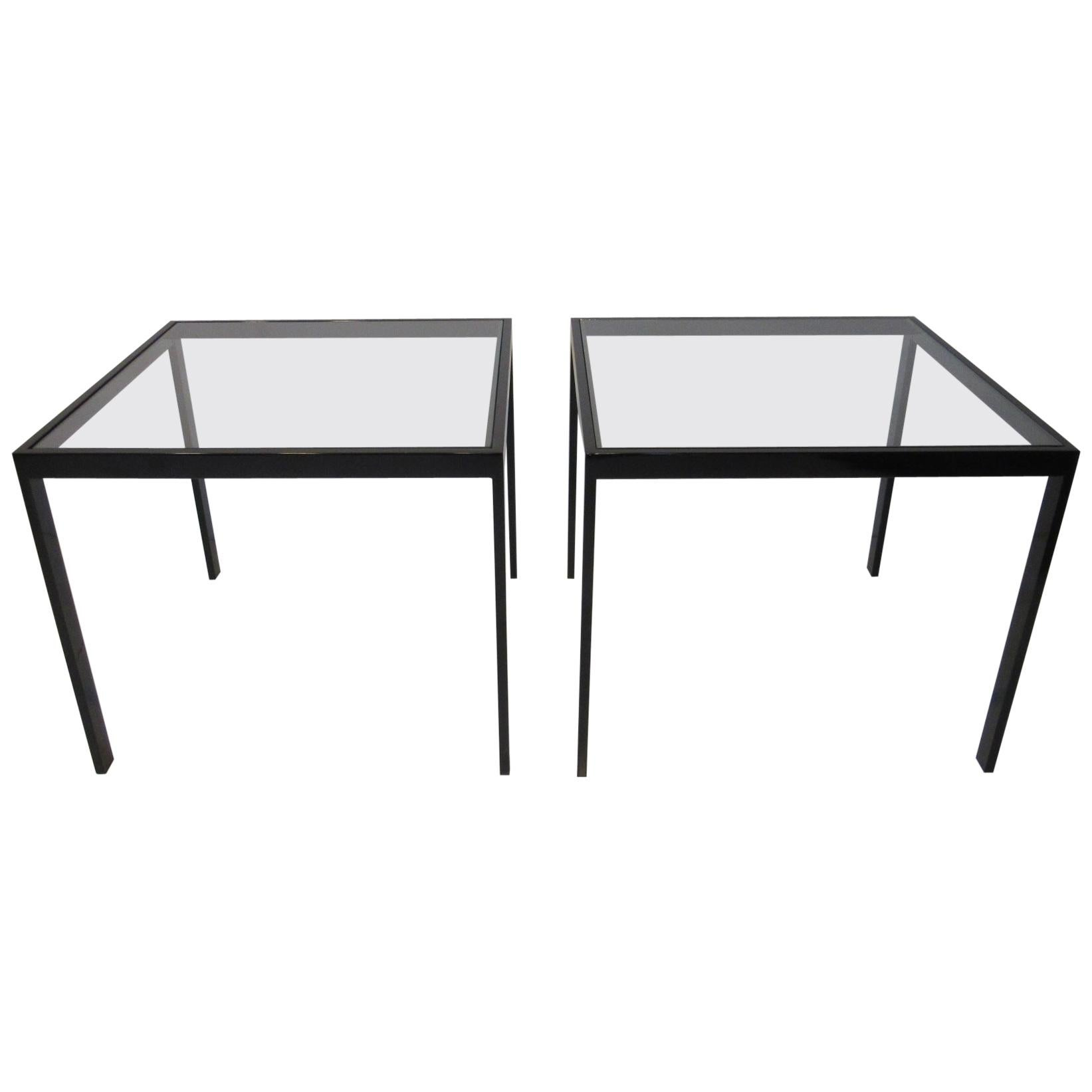 DIA Side Tables Black Anodized Metal / Glass by Design Institute of America