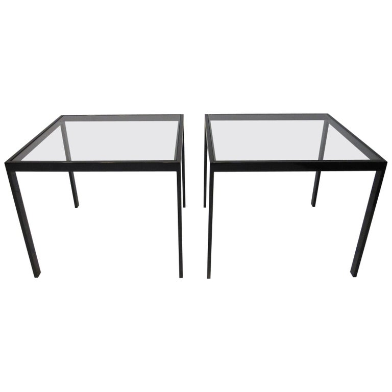 DIA Side Tables Black Anodized Metal / Glass by Design Institute of America For Sale