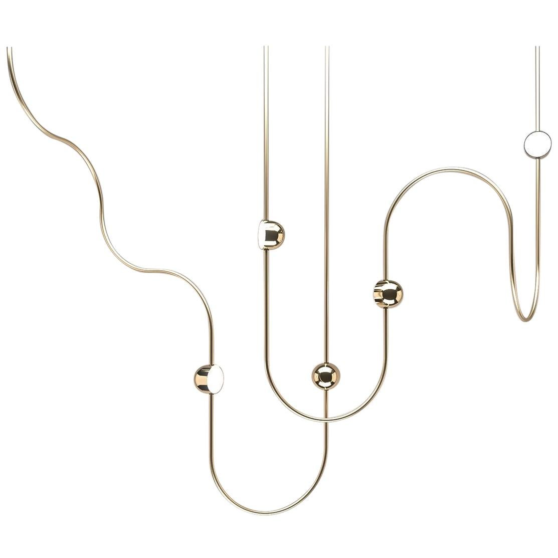 Dia Contemporary LED Chandelier, Config. 3, Solid Brass, Handmade/finished, Art