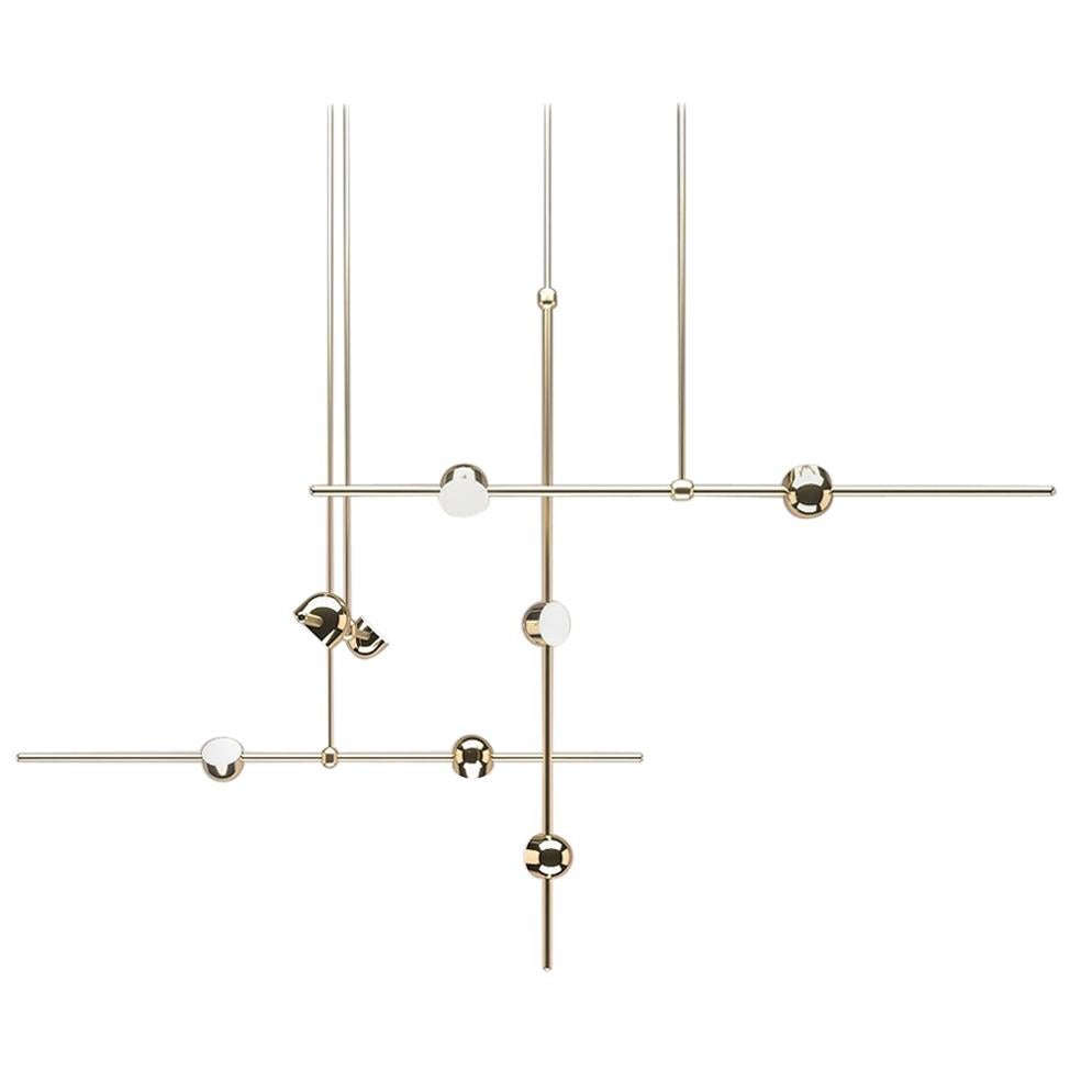 Dia Contemporary LED Chandelier, Config. 2, Solid Brass, Handmade/finished, Art