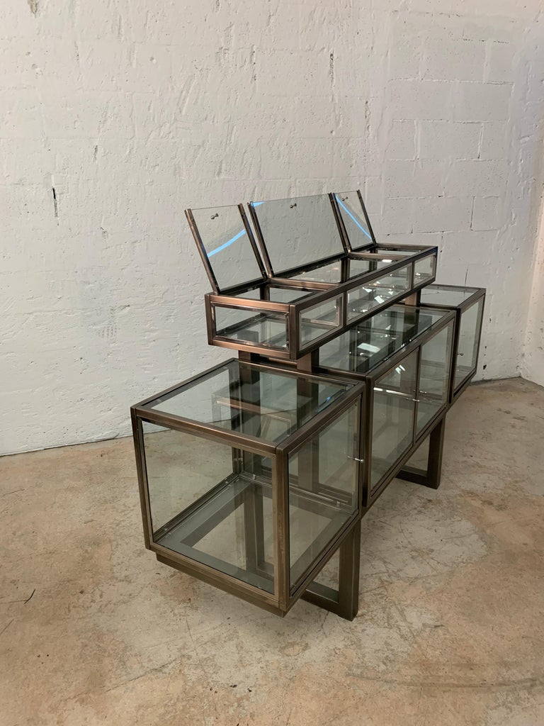 DIA Design Institute of America Steel Chrome and Glass Display Cabinet Vitrine For Sale 5