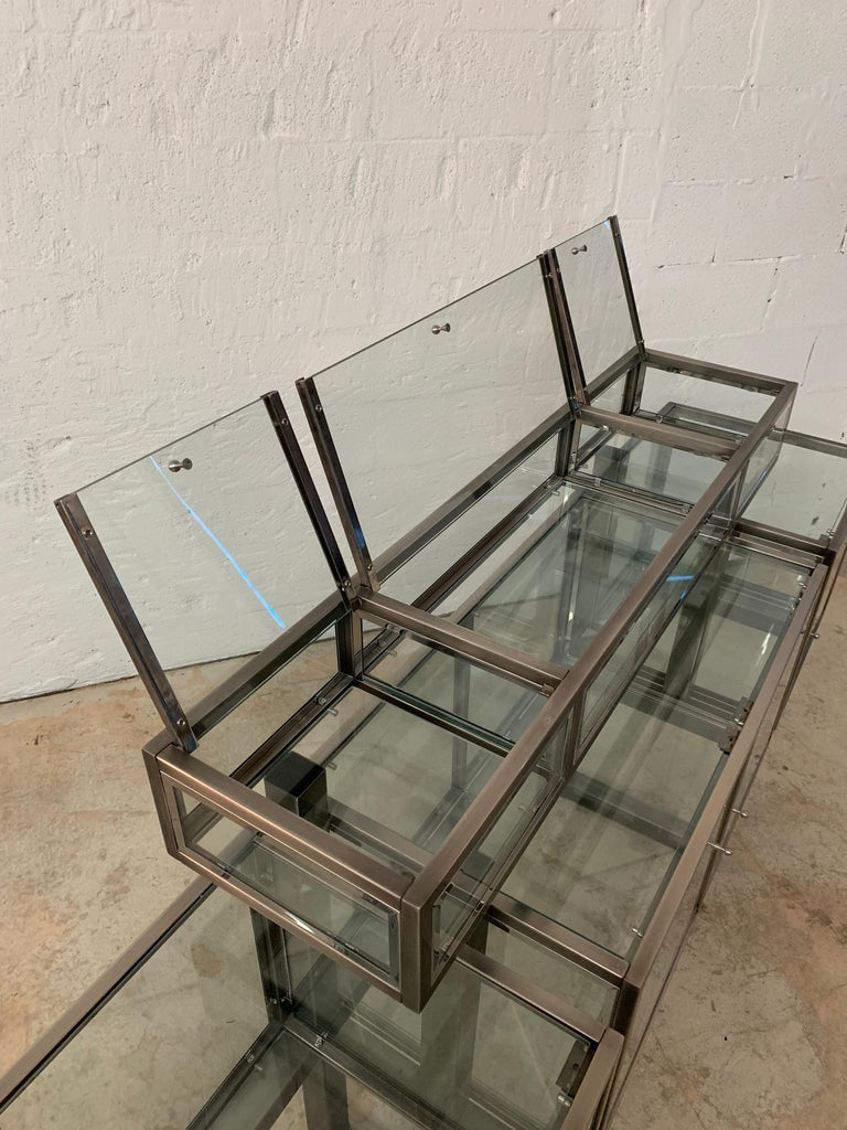 DIA Design Institute of America Steel Chrome and Glass Display Cabinet Vitrine For Sale 6