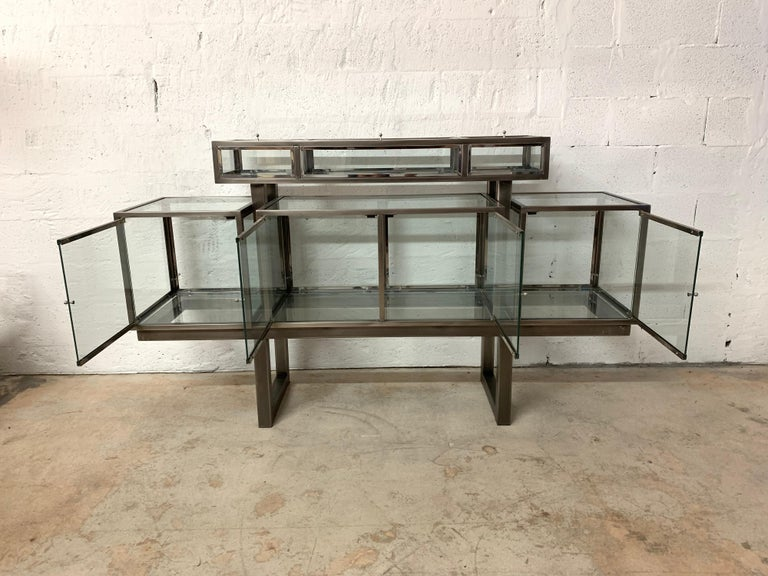 DIA Design Institute of America Steel Chrome and Glass Display Cabinet Vitrine For Sale 7