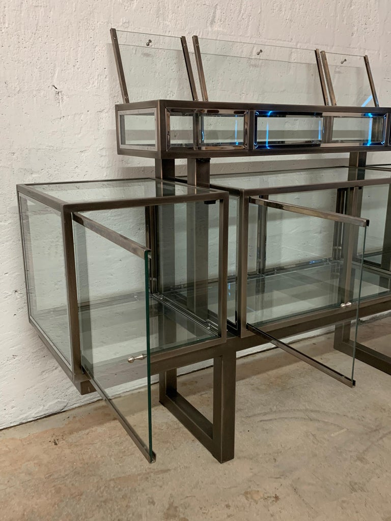 DIA Design Institute of America Steel Chrome and Glass Display Cabinet Vitrine For Sale 8