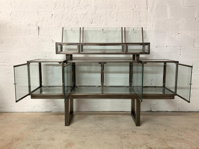 DIA Design Institute of America Steel Chrome and Glass Display Cabinet Vitrine For Sale 9