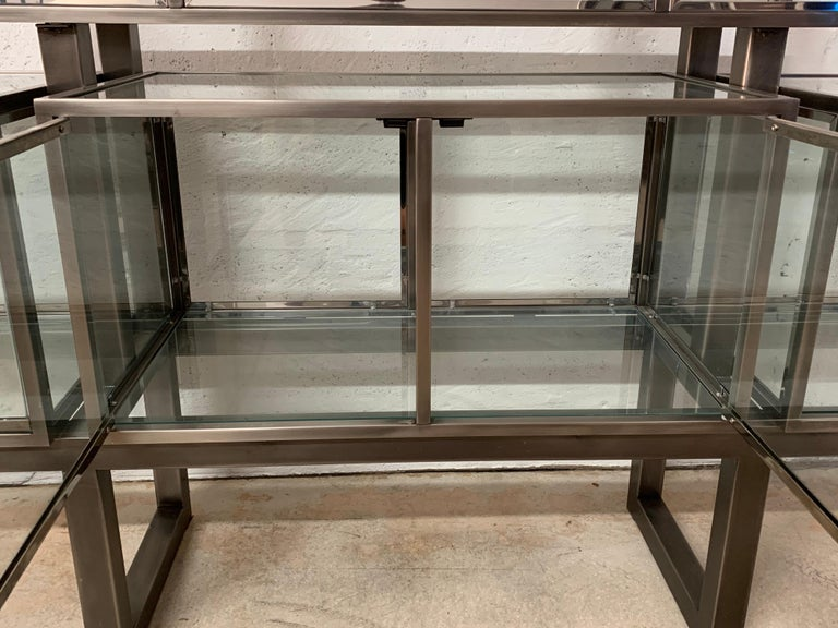 DIA Design Institute of America Steel Chrome and Glass Display Cabinet Vitrine For Sale 11