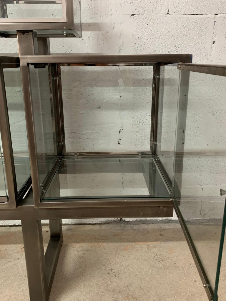 DIA Design Institute of America Steel Chrome and Glass Display Cabinet Vitrine For Sale 12
