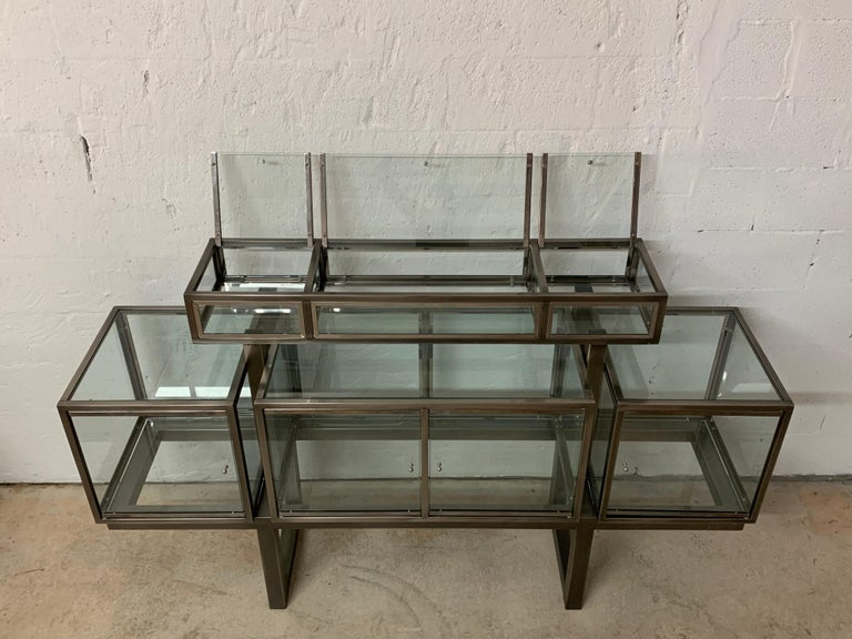 DIA Design Institute of America Steel Chrome and Glass Display Cabinet Vitrine For Sale 13