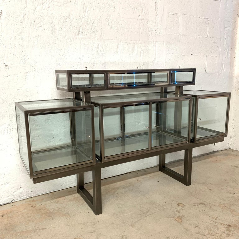 Post-Modern DIA Design Institute of America Steel Chrome and Glass Display Cabinet Vitrine For Sale
