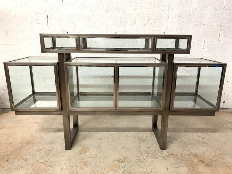 DIA Design Institute of America Steel Chrome and Glass Display Cabinet Vitrine In Good Condition For Sale In Miami, FL
