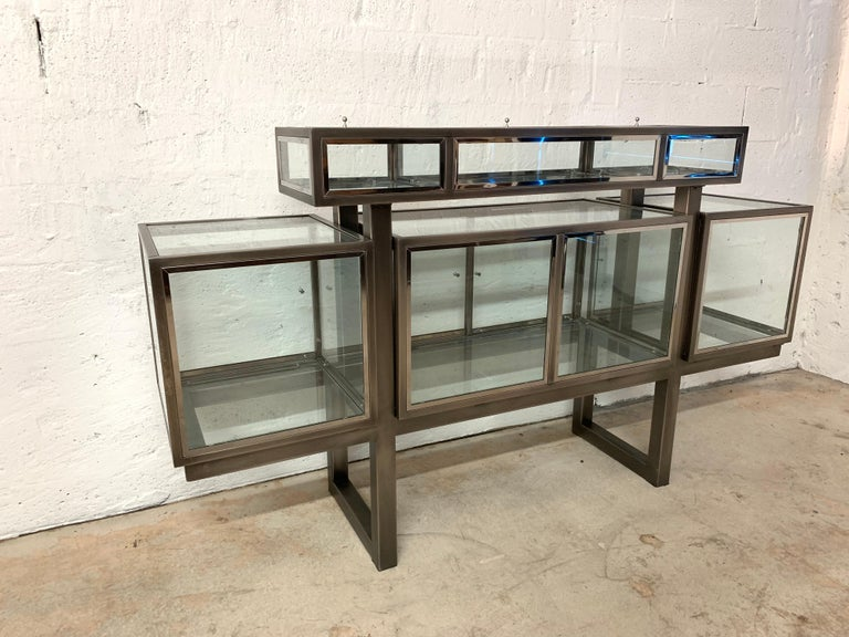 DIA Design Institute of America Steel Chrome and Glass Display Cabinet Vitrine For Sale 1
