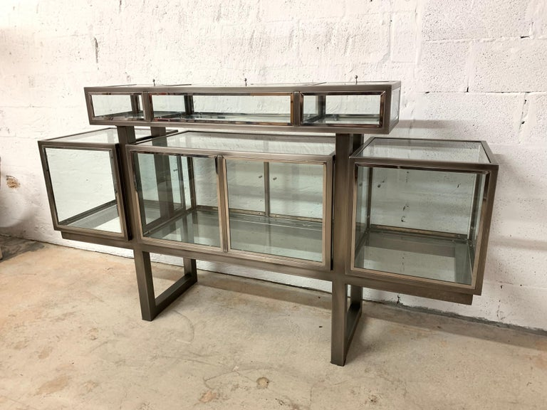 DIA Design Institute of America Steel Chrome and Glass Display Cabinet Vitrine For Sale 2