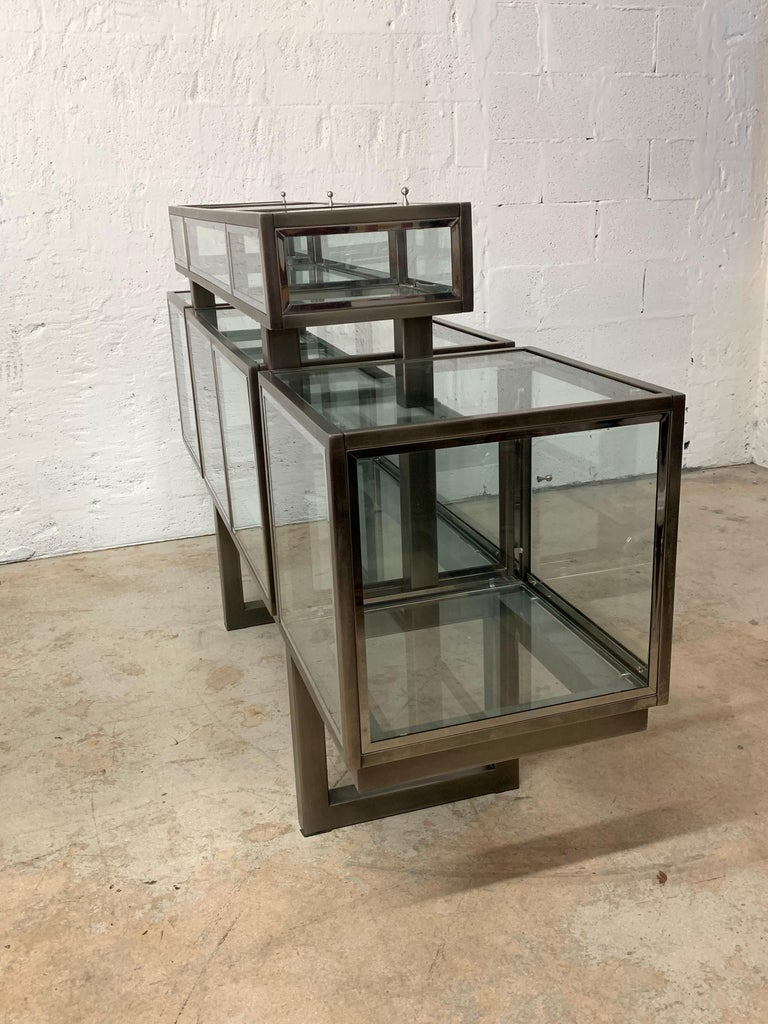 DIA Design Institute of America Steel Chrome and Glass Display Cabinet Vitrine For Sale 3