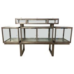 DIA Design Institute of America Steel Chrome and Glass Display Cabinet Vitrine